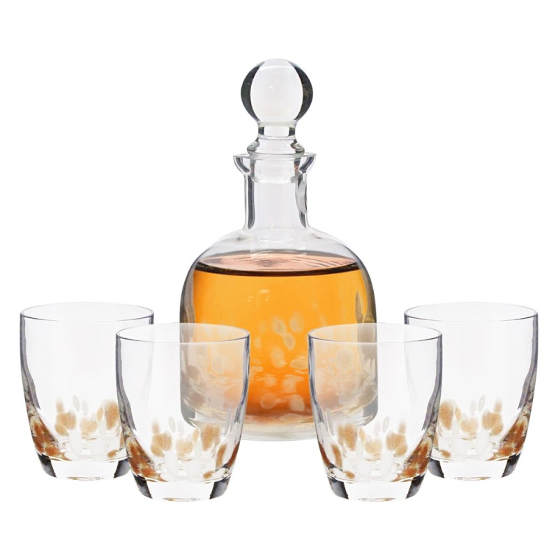 Style Setter Simone White and Gold Crystal 5 Piece Elegant Decorative Whiskey Decanter Set Ornate Top Lead Free Glass with 4 Glasses for Wine, Bourbon, Brandy and Liquor – Makes For an Ideal Gift