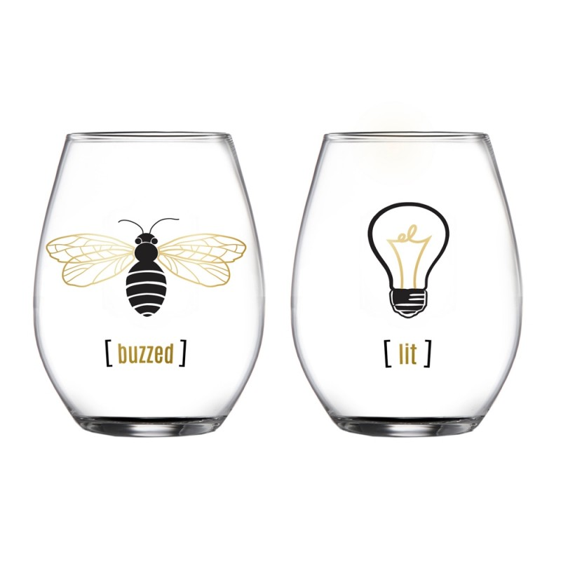 His And Hers 229104-2STGB Stemless Wine Glass Set of 2