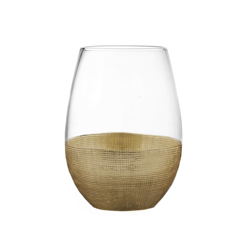 Fitz & Floyd Linen Gold Set of 4 Stemless Glasses