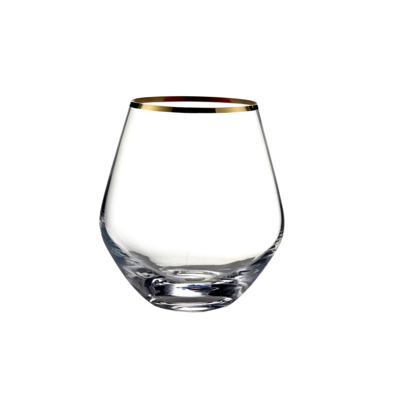 Fitz & Floyd Michel Set of 4 Curved Stemless Glasses