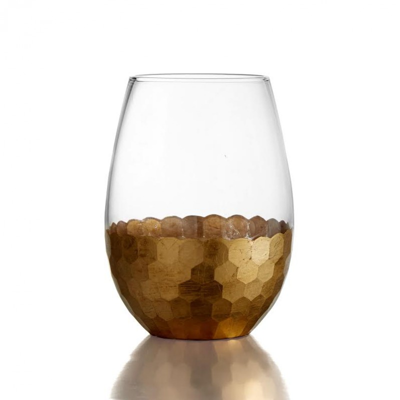 Fitz & Floyd Daphne Gold Set of 4 Stemless Glasses