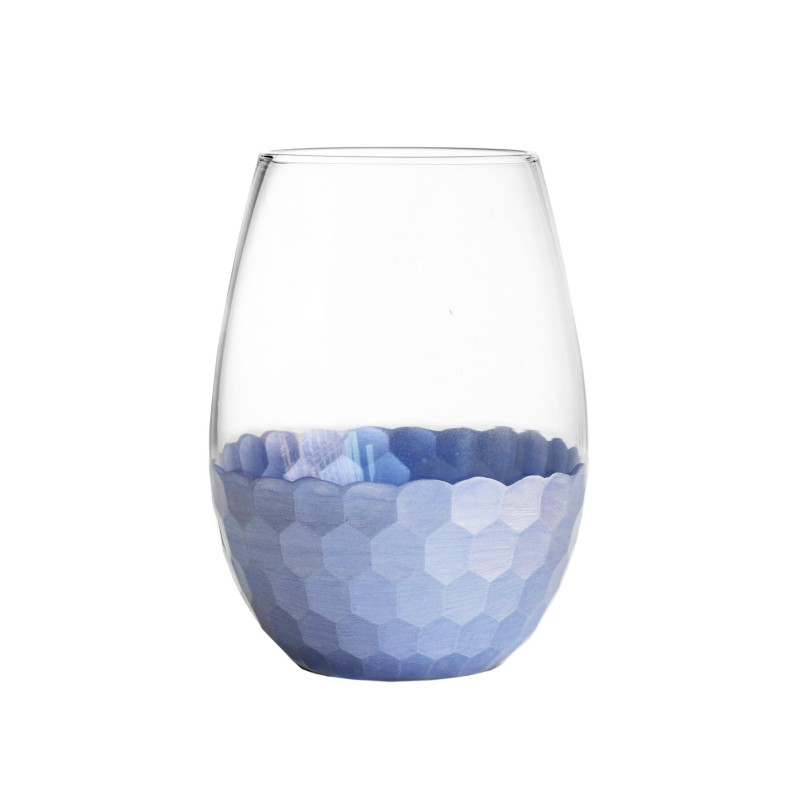 Fitz & Floyd Daphne Blue Set of 4 Stemless Glasses