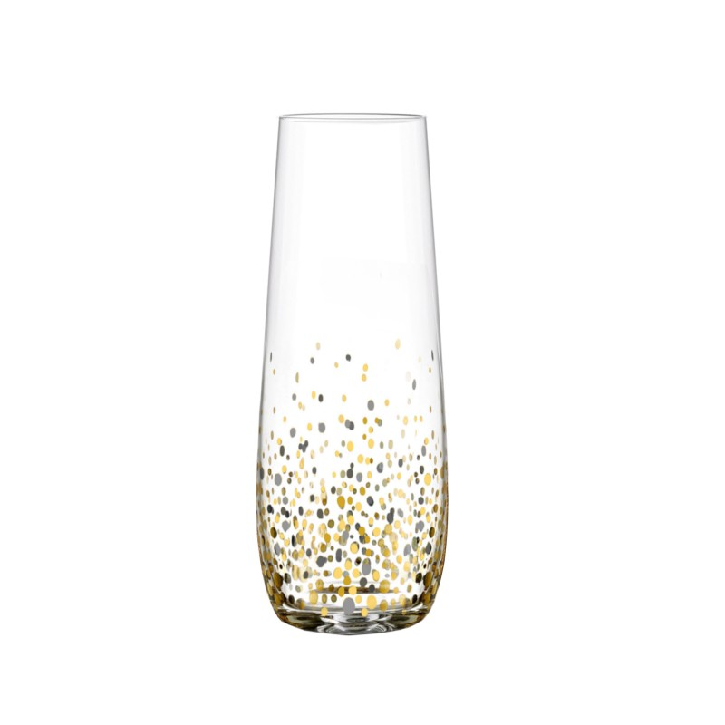 Fitz & Floyd Confetti Black/Gold Set of 4 Stemless Flutes