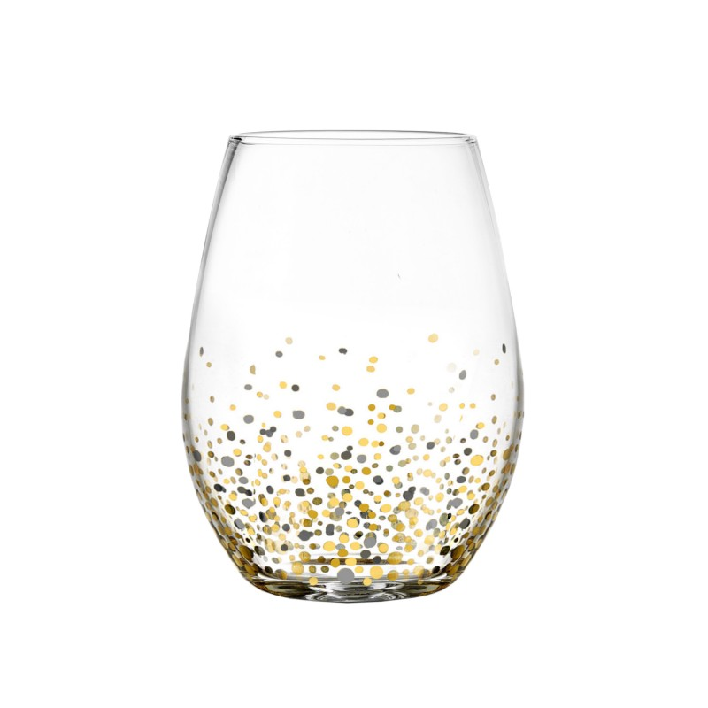 Fitz & Floyd Confetti Black/Gold Set of 4 Stemless Glasses