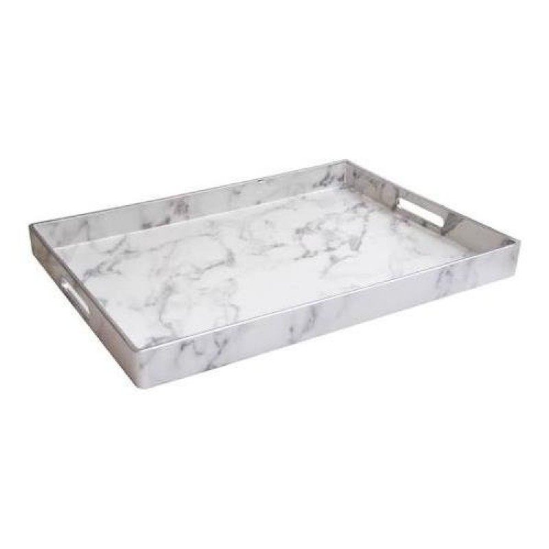 "American Atelier 1270528 Marble Serving Tray, 14"" x 19"" x 2"", Gray"