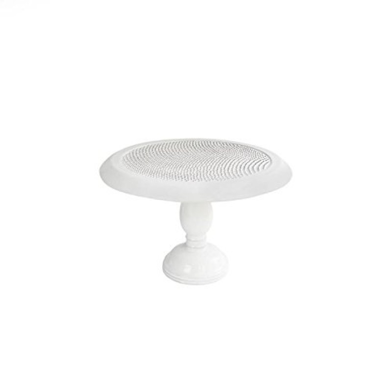 American Atelier 1562128 Bianca Dots Round Pedestal Cake Plate, White