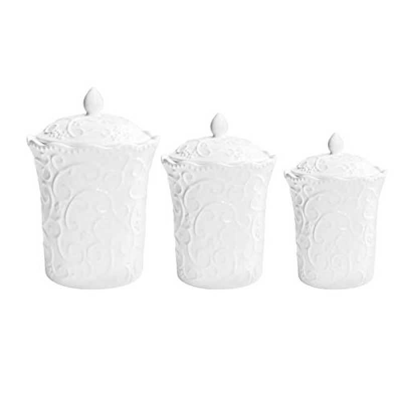 American Atelier Bianca Scrolls 3-Piece Canister Set, White
