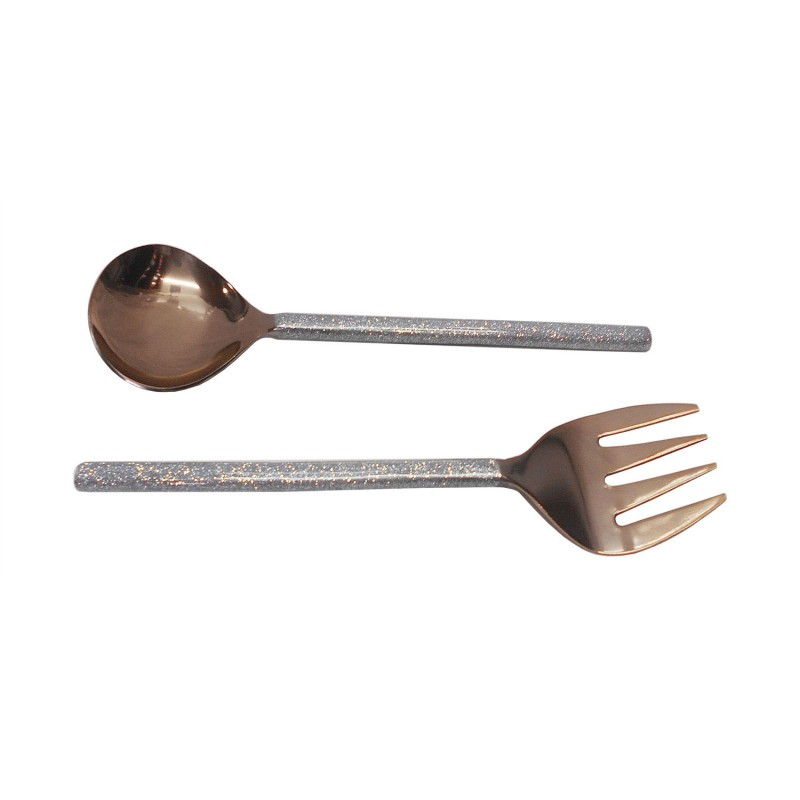 American Atelier Party Essentials Glitter Matt Copper 2 Piece Salad Serving Set