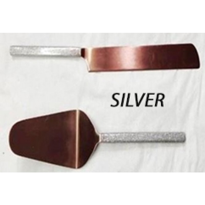 American Atelier Party Essentials Glitter Silver Cake Serving 2 Piece Set