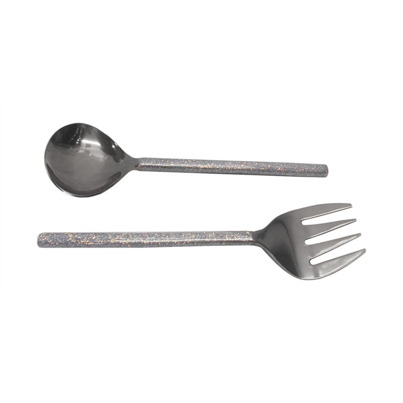 American Atelier Party Essentials Glitter Silver 2 Piece Salad Serving Set