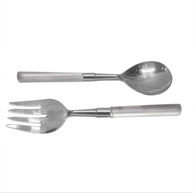 American Atelier Party Essentials Acrylic Silver 2 Piece Salad Serving Set