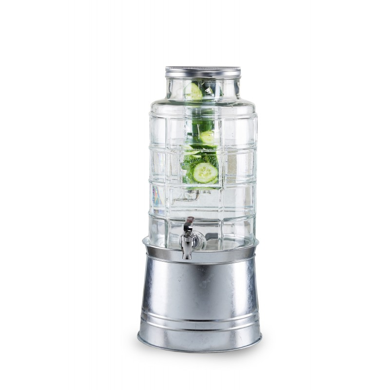 Style Setter Patchwork Beverage Dispenser with Galvanized Base & Ice Insert/ Fruit Infuser - 2.4 Gallon Capacity Glass Jug, Leak-Proof Acrylic Spigot Great for Parties, Entertaining & Weddings