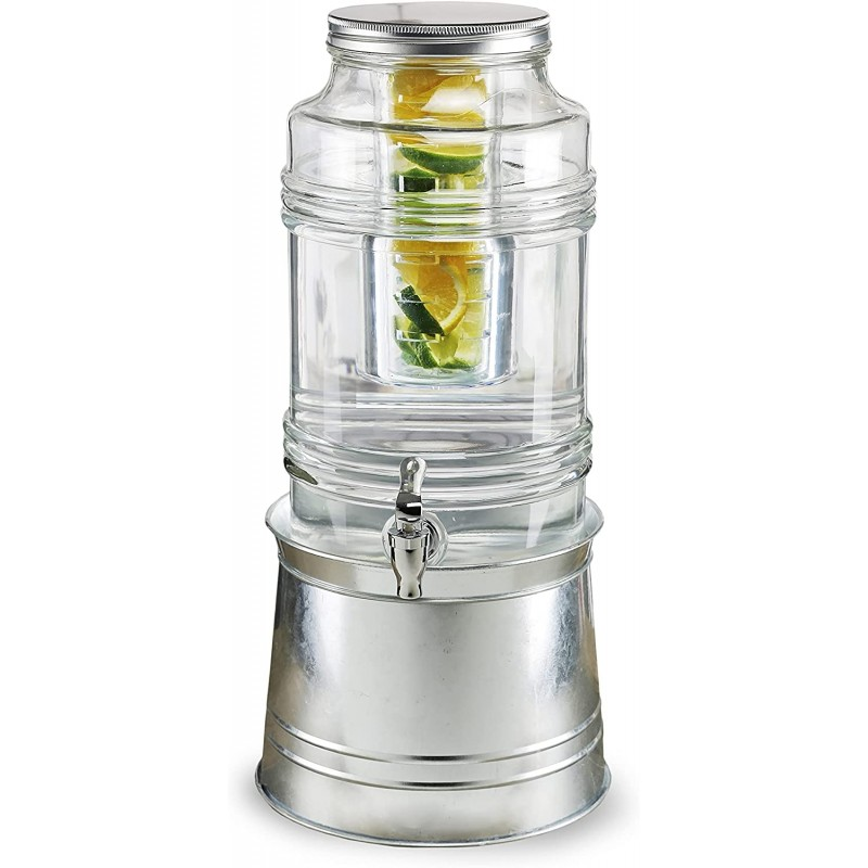 Style Setter Bungalow Beverage Dispenser with Galvanized Base & Ice Insert/ Fruit Infuser - 2.4 Gallon Capacity Glass Jug, Leak-Proof Acrylic Spigot Great for Parties, Entertaining & Weddings
