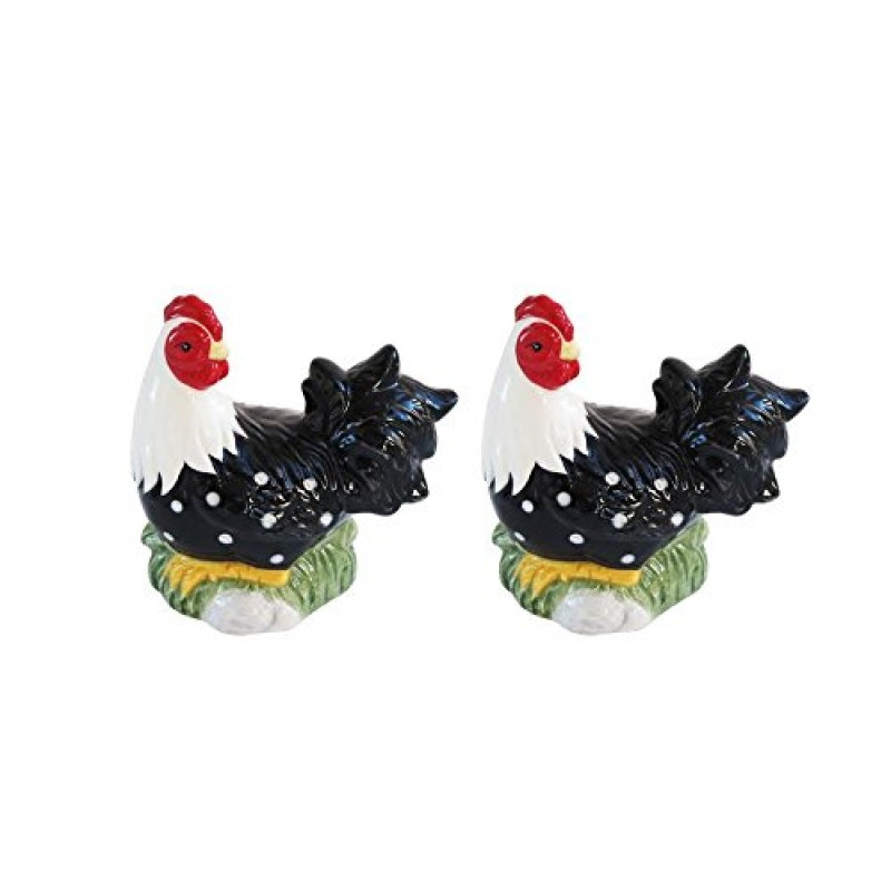 American Atelier Rooster Salt & Pepper Shakers, Black