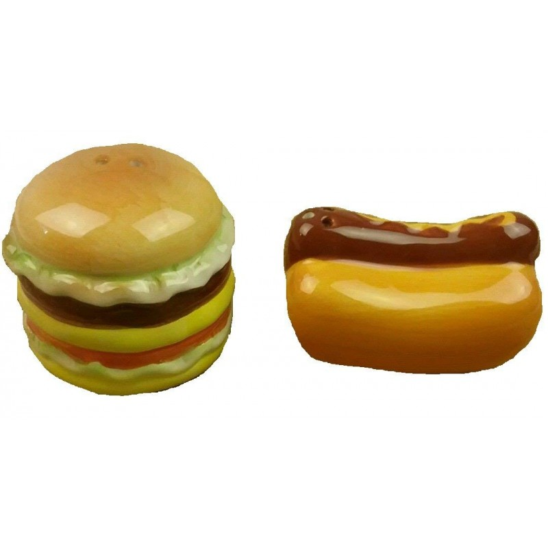 American Atelier 6475-SP Burger & Hot Dog, Salt & Pepper Shakers, Brown
