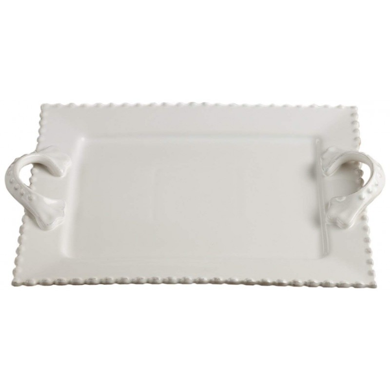 American Atelier Bianca Bead Rectangle Platter with Handles