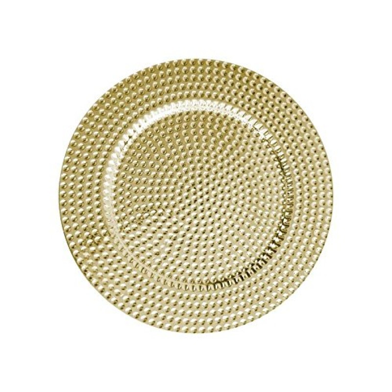 "Round Beaded Charger Plates 13"" Diameter, Set of 4 - GOLD"