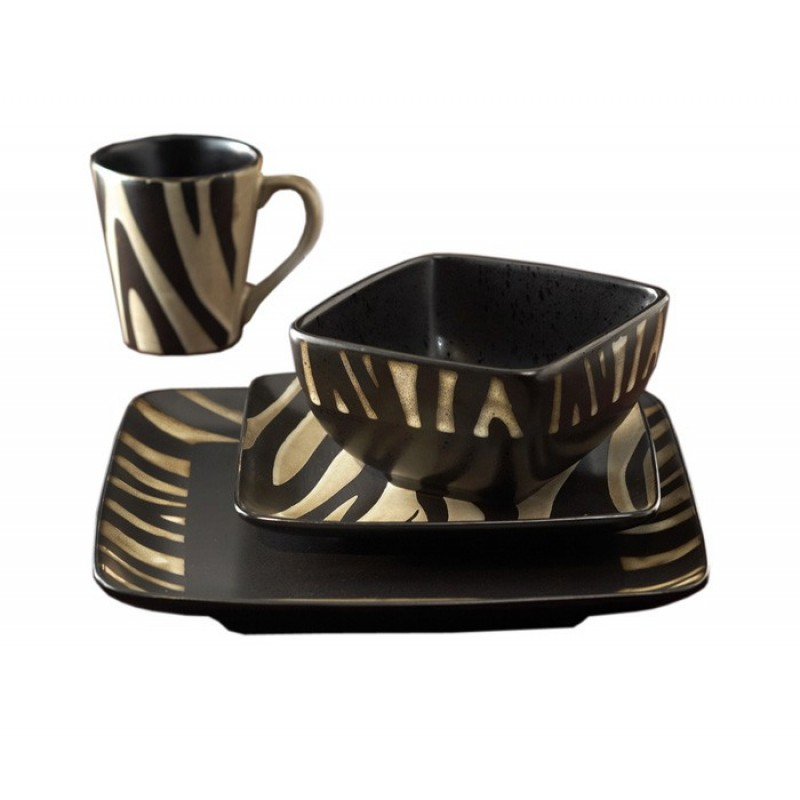 American Atelier Safari Zebra White 16 Piece Dinnerware Set