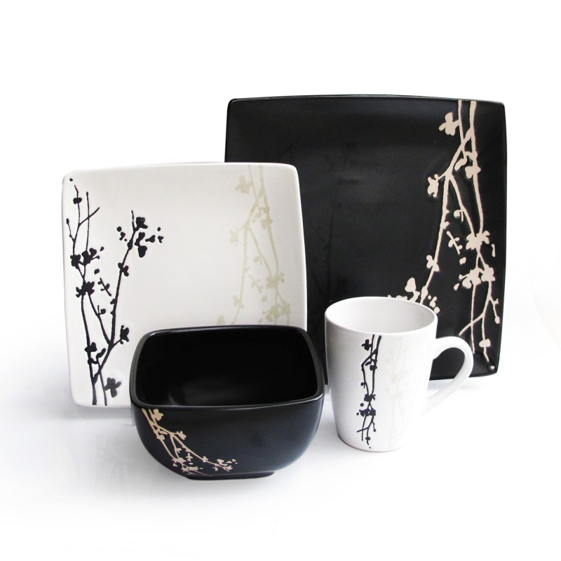 American Atelier Twilight Blossom 16 Piece Dinnerware Set