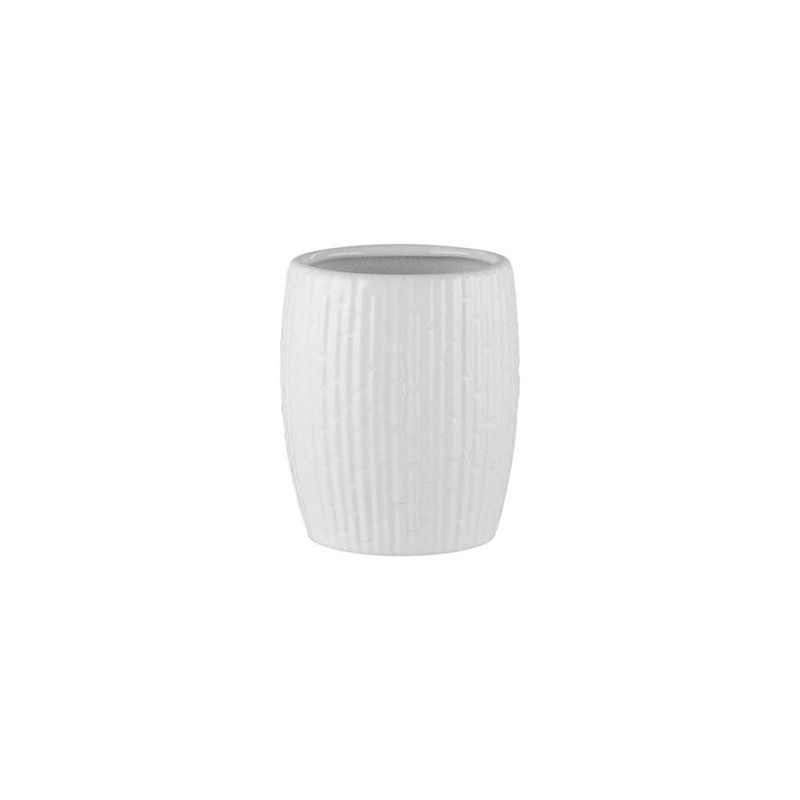 Elle Collection 1184589 Embossed White Ceramic Bathroom Tumbler