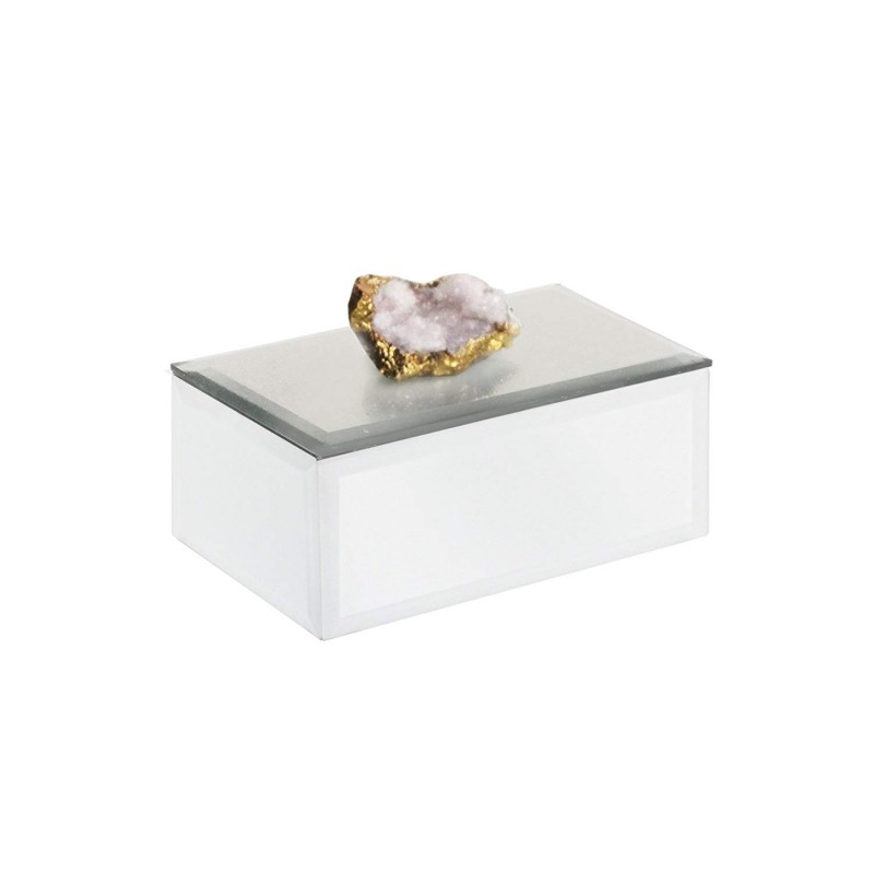 American Atelier 1280223 Agate Rectangle Jewelry Box, White