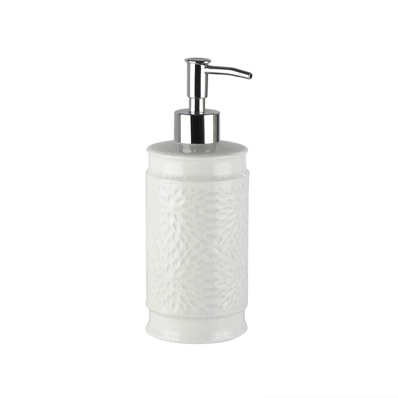 American Atelier 1184597 Bianca Cream Crackle Ceramic Lotion/Soap Dispenser