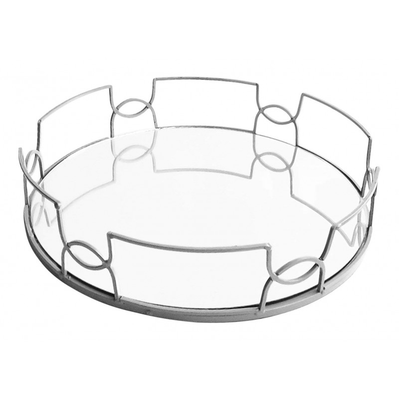 American Atelier Round Mirror Tray, Silver