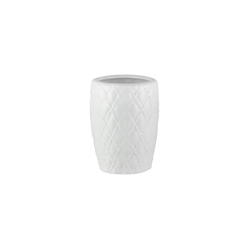 Elle Collection 1184579 Embossed White Ceramic Bathroom Tumbler