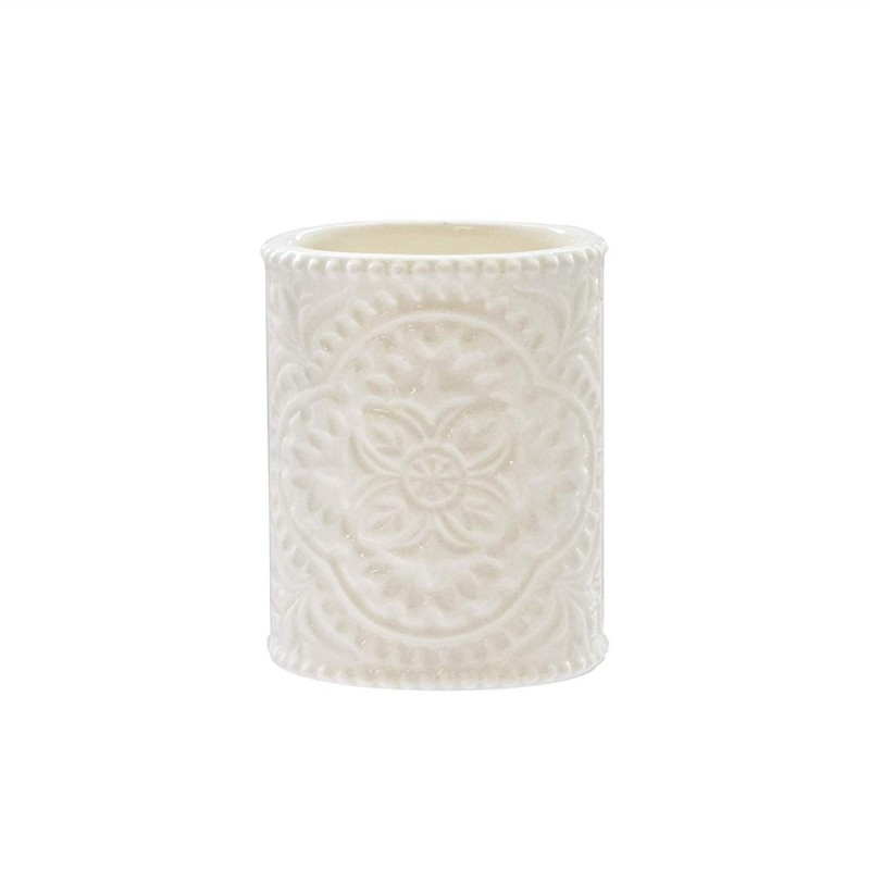 American Atelier 1184594 Bianca Cream Crackle Ceramic Bathroom Tumbler