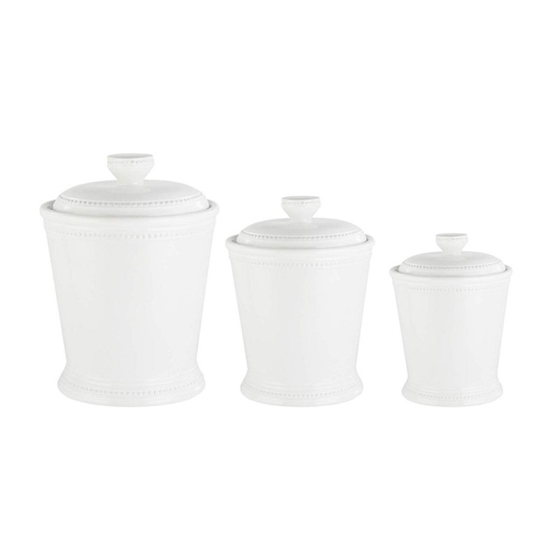 American Atelier Bianca Dots 3 Piece Ceramic Round Canister Set - White