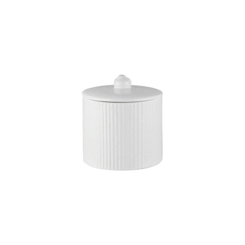 Elle Collection 1184591 Embossed White Ceramic Cotton Ball Jar with Lid