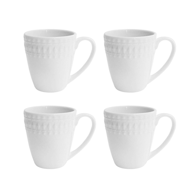 Elle Decor 6828-4M Amelie Coffee Mugs, White