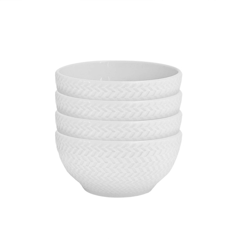 Elle Decor 6829-4BWL Bridgette Kitchen Bowls, White