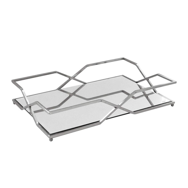 American Atelier 1330800 Rectangle Mirror Decorative Tray with Metal Rim - Silver