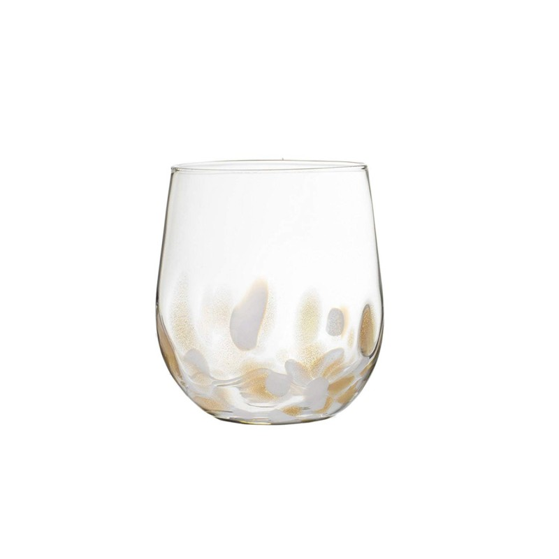 Fitz and Floyd Simone Set of 4 Stemless Glasses-White/Gold