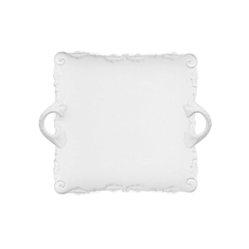 American Atelier Bianca Wave Square Platter with Handles, White