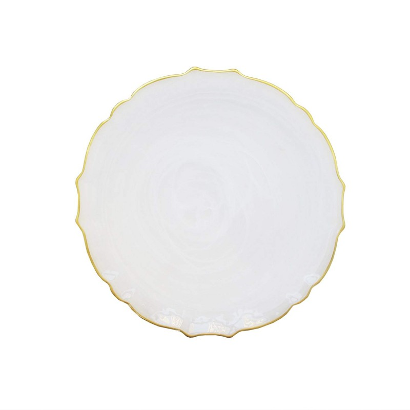 ChargeIt by Jay Alabaster Scallop White Glass Charger Plate with Gold Rim