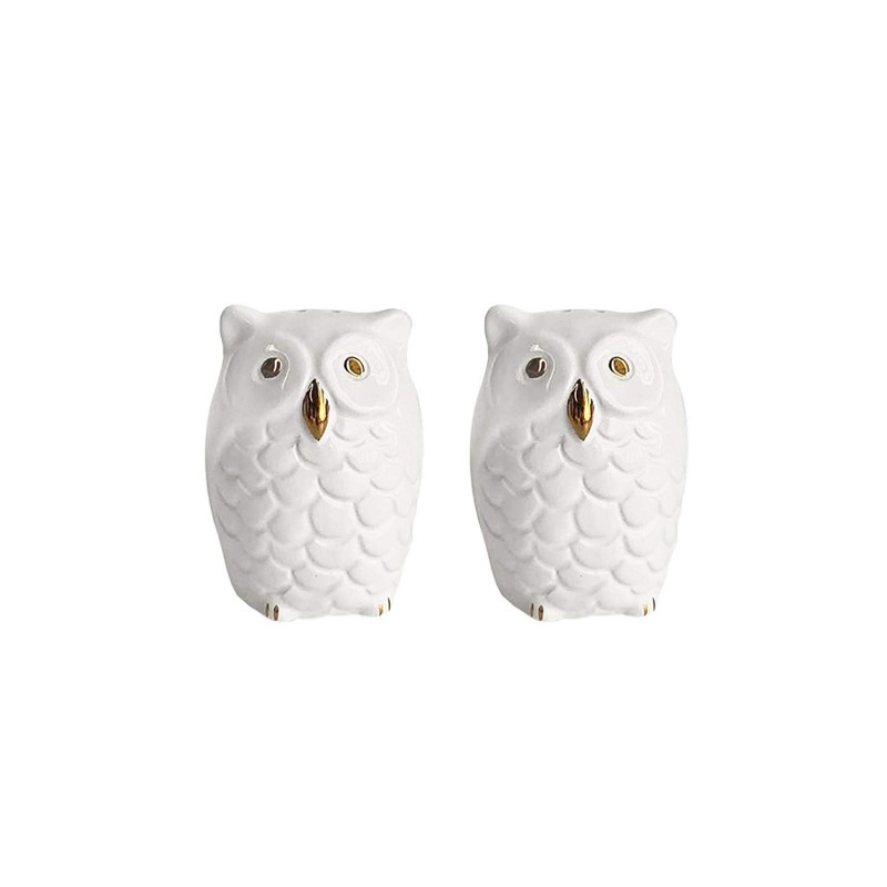 American Atelier Owls Salt & Pepper Shakers-White/Gold