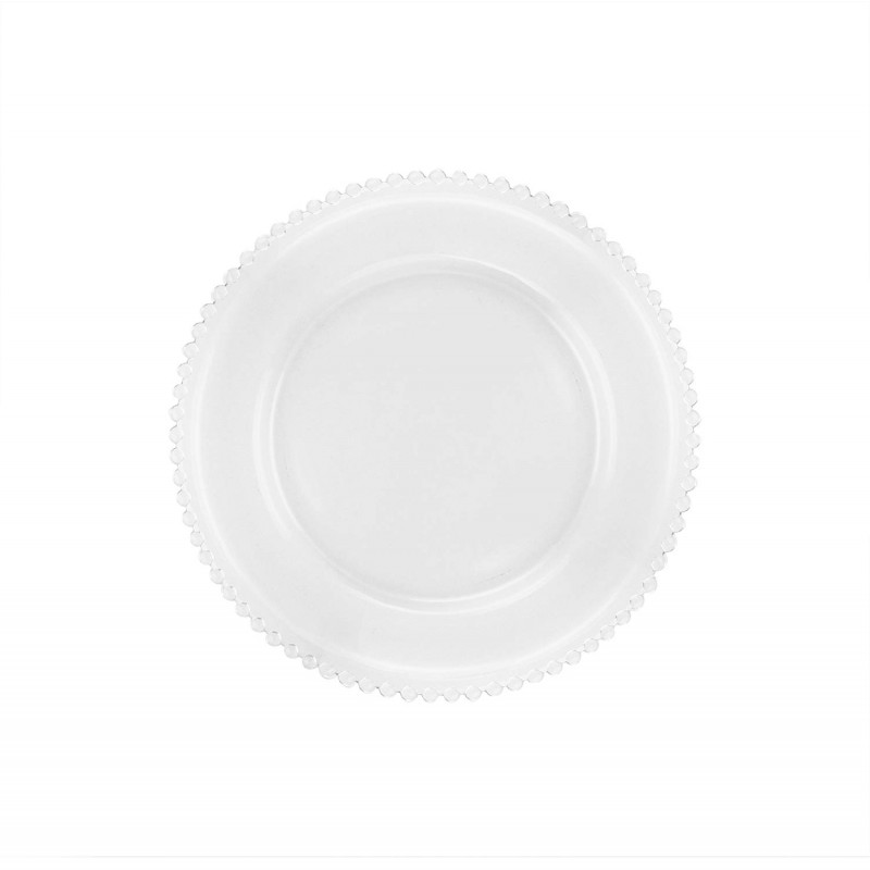ChargeIt by Jay Aflair Beaded Glass Charger Plate, Clear