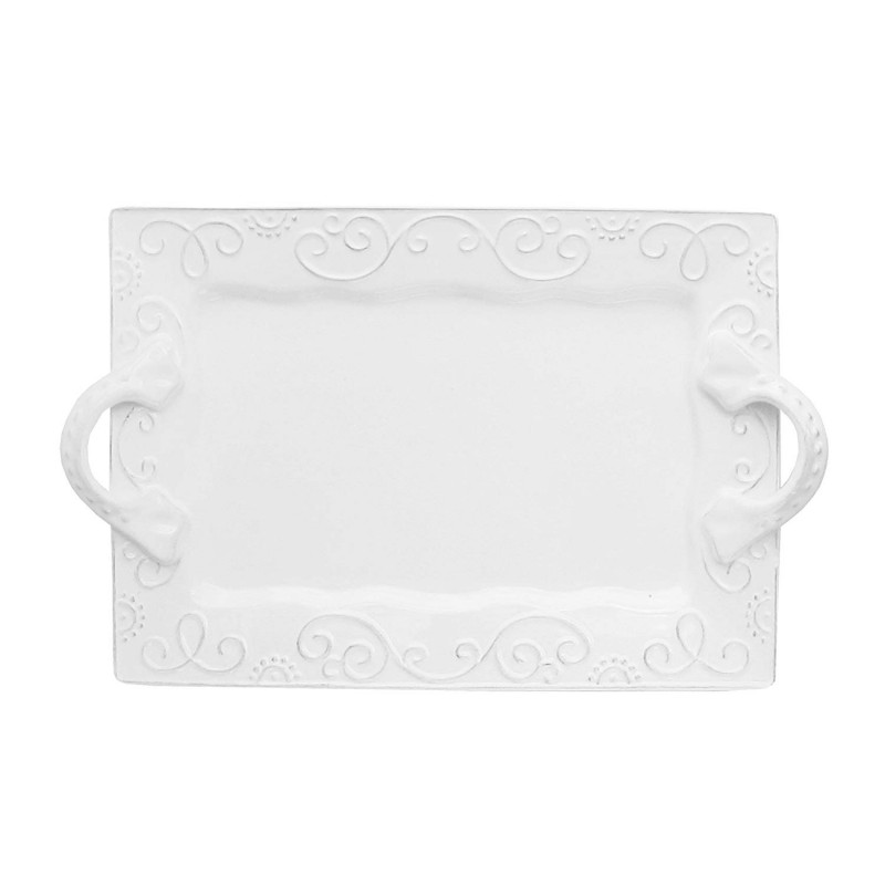 American Atelier Mina Rectangle Platter with Handles, White