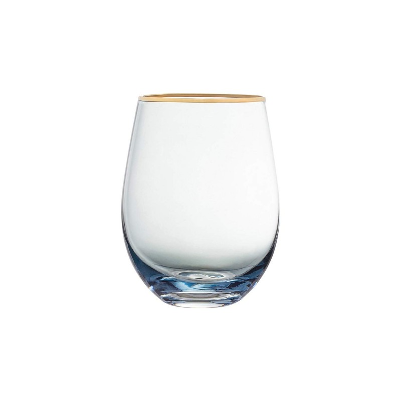 Fifth Avenue Crystal 229351-4ST Vivienne Stemless Goblets, 2.8 x 3.7 x 4.8, Blue