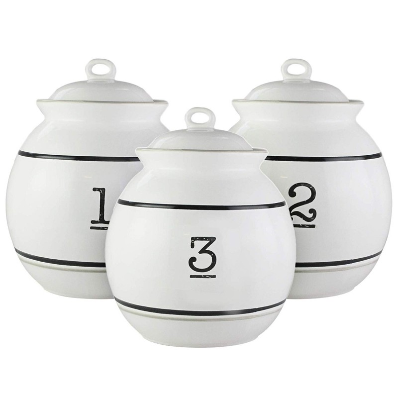 Elle Decor Le Bistro Canister Set 3-Piece Ceramic Jars in 46oz, 66oz and 92oz Chic Design With Lids for Cookies, Candy, Coffee, Flour, Sugar, Rice, Pasta, Cereal & More Numbers