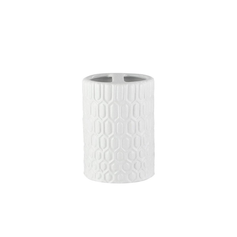 Elle Collection 1184583 Embossed White Ceramic Toothbrush Holder