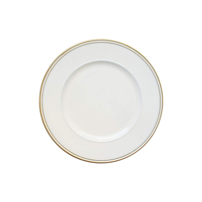 "Round Charger Plates 13"" Diameter, Set of 4 – WHITE/GOLD"