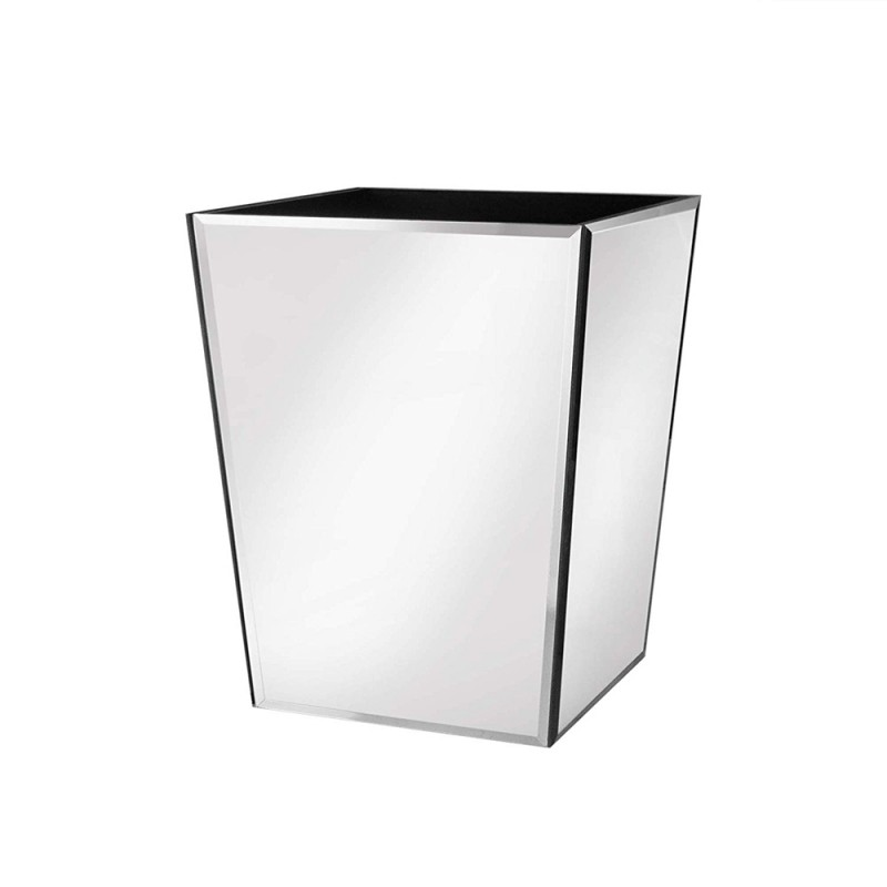 American Atelier Mirror Glass Square Waste Basket