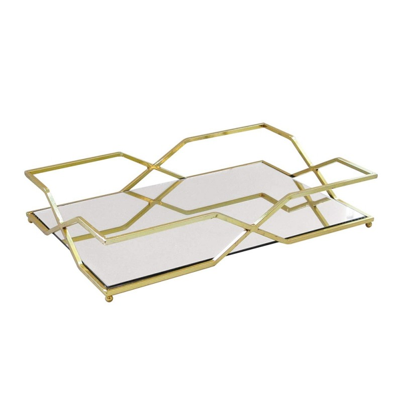 American Atelier Rectangle Mirror Decorative Tray with Metal Rim - Gold