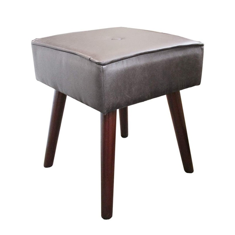 Design Guild 1230222-DGR Robin Square Ottoman Stool with Wooden Legs - Dark Gray