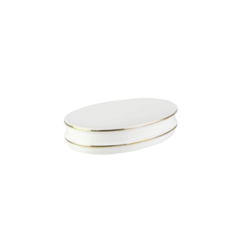 American Atelier Bath or Kitchen Ceramic Dish with Metallic Rim