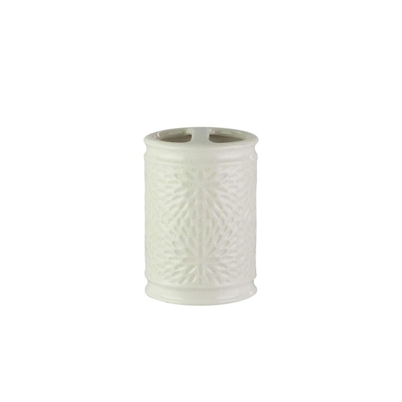 American Atelier 1184598 Bianca Crackle Ceramic Toothbrush Holder Cream