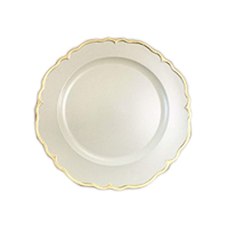 "Round Scallop Charger Plates 13"" Diameter, Set of 4 – WHITE/GOLD"